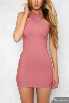 YOINS Sleeveless Zip Back Bodycon Mini Dress Write a Review - intl