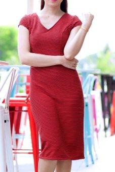 Đầm công sở cổ tim họa tiết sọc Cirino (Cam)