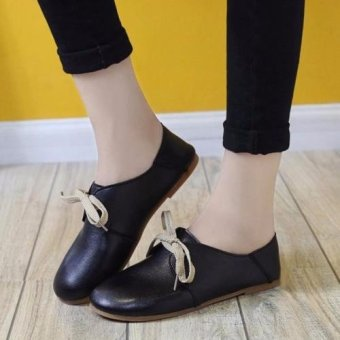 Fashion Women Flats Shoes Lace Up Comfort Shoes Casual Leather Oxfords Loafers Black - intl