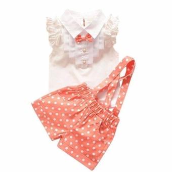 Kids Girls Bow Shirt Top Floral Polka Dot Strap Shorts Set Clothing Orange - intl