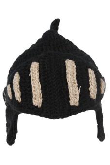 LALANG Hand-Knit Beanie Knight Masks Cap (Black Beige)