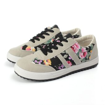 Womens Casual Floral Canvas Lace Up Shoes Sneakers Flat Athletic Sport Plimsoll