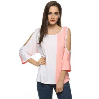 Sunweb ACEVOG Stylish Women Fashion O-Neck Casual Off Shoulder Loose Contrast Color T-shirt ( pink ) - intl