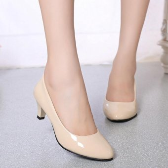 Nude Shallow Mouth Women Office Work Heels Shoes Elegant Ladies Low Heel - intl