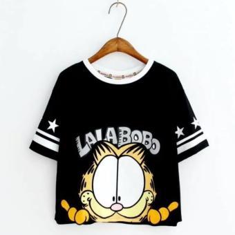 Áo Thun Nữ Tay Ngắn Mèo Garfield Lalabobo LTTA176 (Đen)