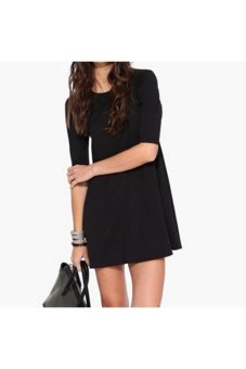 Moonar Women's Summer O-neck Dress (Black) - Intl
