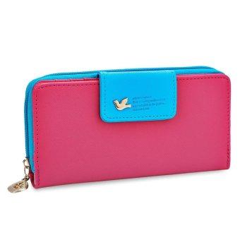 Bird Letter Water Drop Leaf Color Block Zipper Snap Fastener Wallet for Lady - intl
