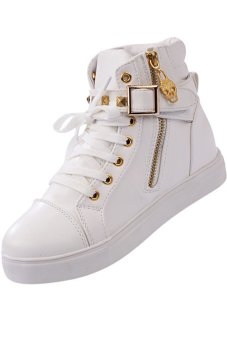 LALANG Zipper Buckle Rivet Sneakers Sports Boots Shoes White - intl
