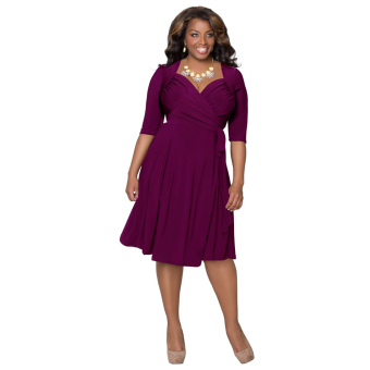 Women Bandage Bodycon Mini Dress Purple - Intl - intl
