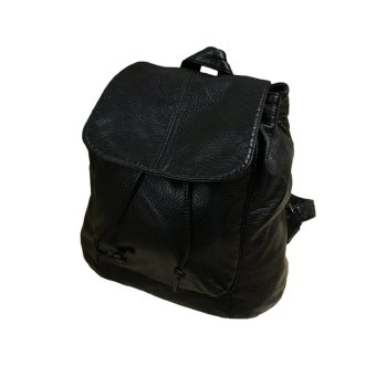 Fashion Women Backpack PU Leather Drawstring Snap Cover Adjustable Pockets Solid Causal Shoulder Bag Black - Intl