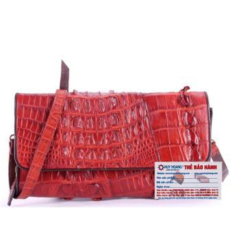 HL6247 - Túi xách nữ da cá sấu đeo chéo 2 gai màu nâu đỏ