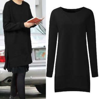 ZANZEA Women Pullovers Fleece Sweatshirts Hoodies Long Sleeve O Neck Split Casual Loose Solid Tops Blusas Plus Size S-5XL (Black) - intl