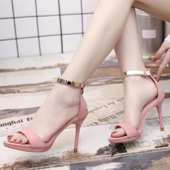 Giày cao gót kéo khóa quai viền vàng ( hồng )