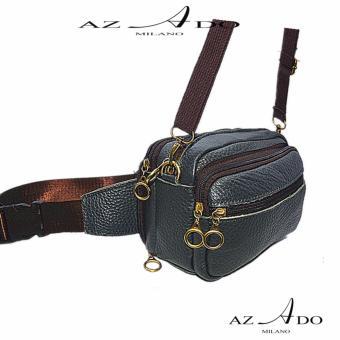 Túi đen chéo đeo bụng da bò thật TV129, thời trang Azado ( xanh)