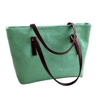 Simple Winter Larger Capacity Leather Women Bag Messenger Green