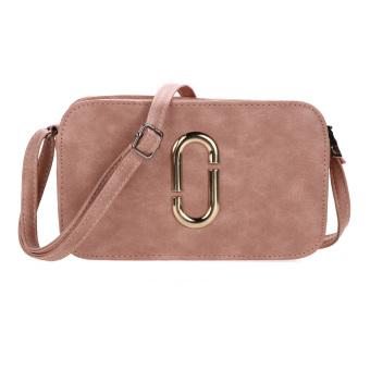 Women New PU Leather Winter Retro Locomotive Small Square Bag Shoulder Bag(Pink) - intl