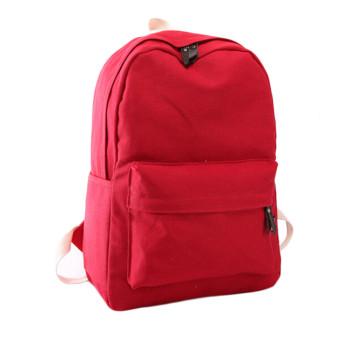 Women Canvas School Bag Girl Backpack Travel Rucksack Shoulder Bag Red