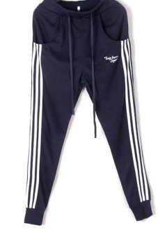 LALANG Jogging Trousers Slacks Navy Blue - Intl