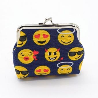 Womens Smiling Face Canvas Wallet Card Holder Coin Purse Clutch Handbag BU - intl