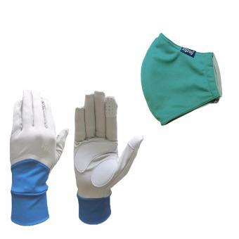 Bộ gồm găng tay Nonstop+ khẩu trang nhỏ chống nắng UPF50+ zigzag COGM25 (xanh xám+xanh nhạt)