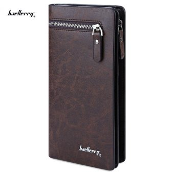 Baellerry Clutch Wallet Cell Phone Money Photo Card Wallet Men VERTICAL(Coffee) - intl