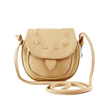 New Fashion Women Mini Shoulder Bag PU Leather Messenger Crossbody Bag Drawstring Handbag Khaki - intl