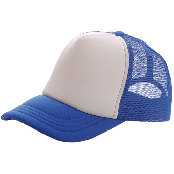 Unisex Adjustable Casual Sport Baseball Breathable Blank Mesh Sun Protection Trucker Hat Peaked Hat Cap Blue + White - intl