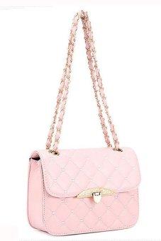 HKS Womens Bag Chain Shoulder Bag Messenger Tote Fashion Leather Handbag Pink - intl
