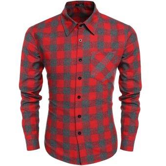 Cyber Coofandy Men's Casual Plaid Long Sleeve Turndown Neck Shirt (Red) - Intl