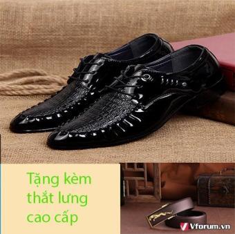 Giày công ở nam thời trang dây buộc tặng kèm thắt lưng