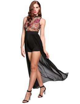 Cyber Perspective Net Yarn Floral O-Neck Sleeveless Rompers ( Black ) - intl
