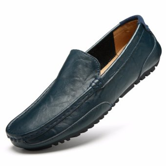 Jarma man's loafers slip-Ons shoes driving shoes male shoes flat moccasin Tods (Blue) - intl