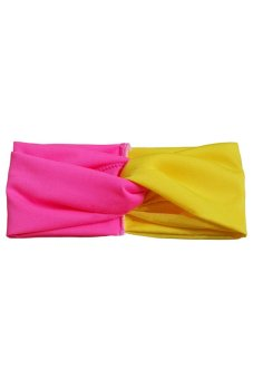Bluelans Women Twist Headband Head Wrap Twisted Knotted Knot Yoga Hair Band Rose+Yellow (Intl)