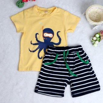 Animal T-Shirt + Striped Beach Pants Set Yellow - Intl
