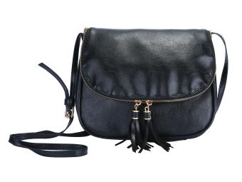 niceEshop Women PU Leather Crossbody Bag Tassel Shoulder Bags, Black