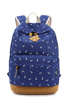 Girls Student Fawn Printed Multi-purpose Canvas Schoolbag School Outdoor Travel Backpack Tablet Laptop Carry Bag Blue