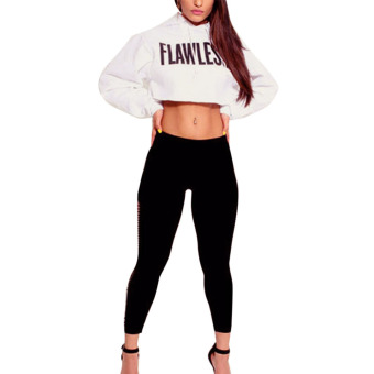 Women FLAWLESS Crop Hoodie Sweatshirt Jumper Sweater Tops Coat S White - intl