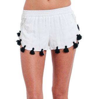 Gamiss Tassel Design Shorts Women Basic Shorts(White) - Intl