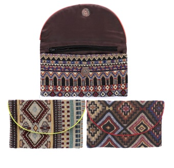 Bộ 3 ví cầm tay họa tiết thổ cẩm Hoian Gifts HA-20