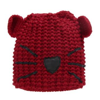 WomenBeanie Devi Horn Cat Ear Crochset Braided Knit ki Woo Hat (Red)