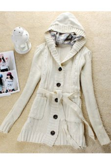Cyber Women Long Sleeve Hoodie Coat Long trench Sweater Cardigan White - Intl