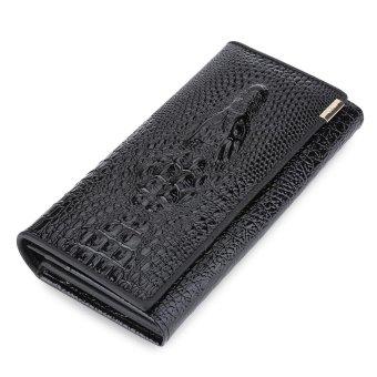 Crocodile Leather Men Clutch Wallet Vertical(Black) - intl