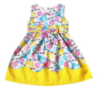 Đầm cotton xòe cho bé gái 2-9 tuổi TRI LAN DBG052 (Vàng)