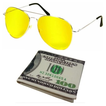 Bộ Ví da in hình đồng tiền đô la 100 USD + Kính nhìn xuyên đêm( Gọng vàng