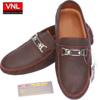 Giày Lười Da Thật chính hãng Da giày Việt Nam VNLCZ0AZ01-1 ( Nâu )