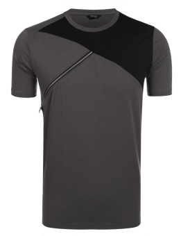 Cyber Men Fashion Round Neck Short Sleeve Contrast Color Patchwork Zipper T-Shirt ( Pitch-black ) - intl