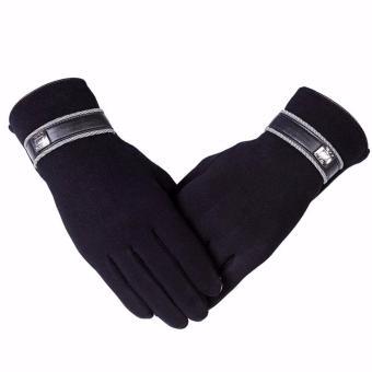 Găng tay len nam cảm ứng cao cấp (Đen)