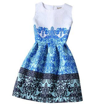 Women Ball Gown Dress Round Collar Color Block (Blue) - intl