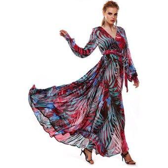 woman maxi printed chiffon waist elegant dress Purple - Intl