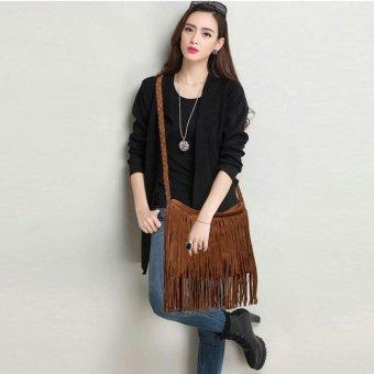 LALANG Women Tassel Suede Fringe Cross-body Shoulder Bag Handbag (Dark Brown) - intl